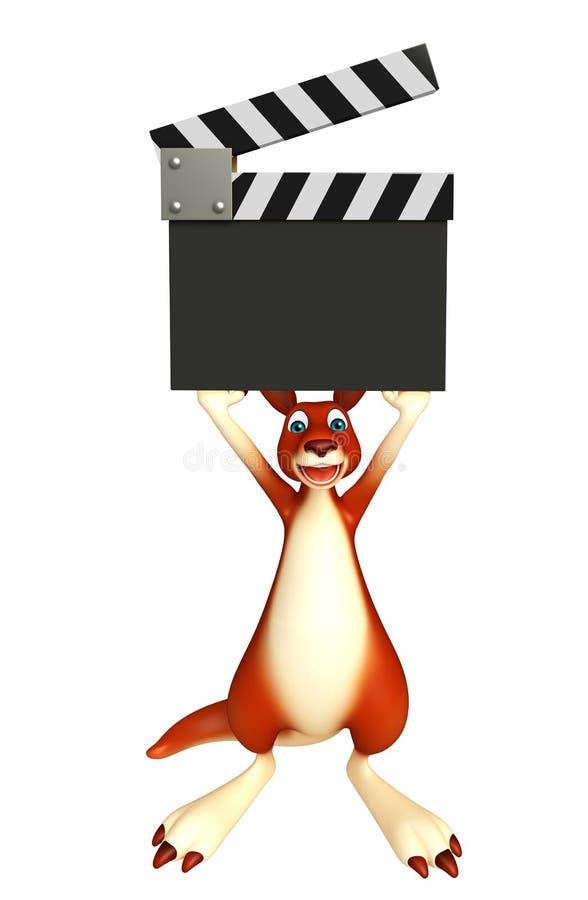 Personnage de dessin animé de kangourou d'amusement avec le bardeau illustration stock