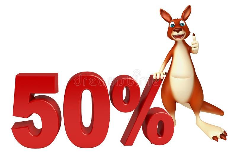 Personnage de dessin animé de kangourou d'amusement avec le signe de 50% illustration de vecteur
