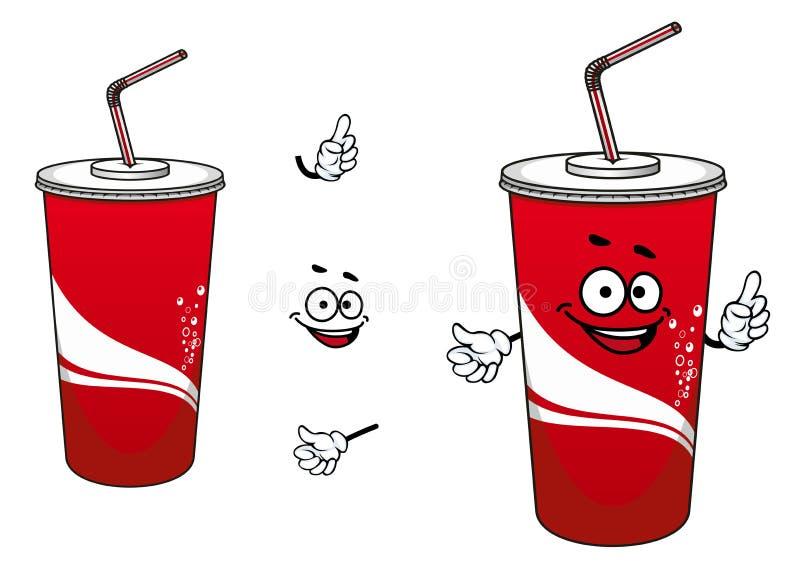 Personnage de dessin animé de kola ou de tasse de papier de soude illustration libre de droits