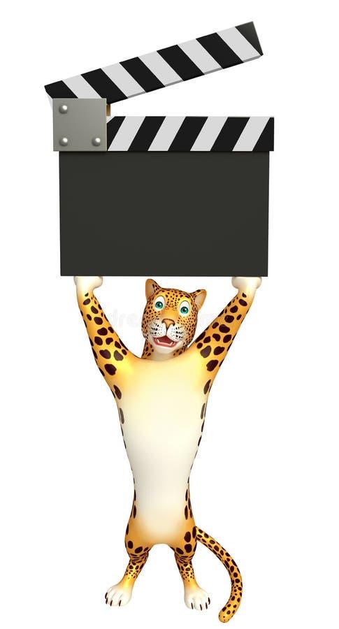 Personnage de dessin animé de léopard avec le bardeau illustration stock