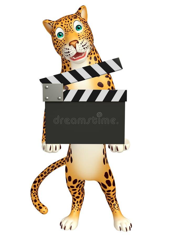 Personnage de dessin animé de léopard avec le bardeau illustration de vecteur