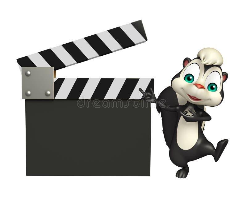 Personnage de dessin animé de mouffette avec le bardeau illustration de vecteur