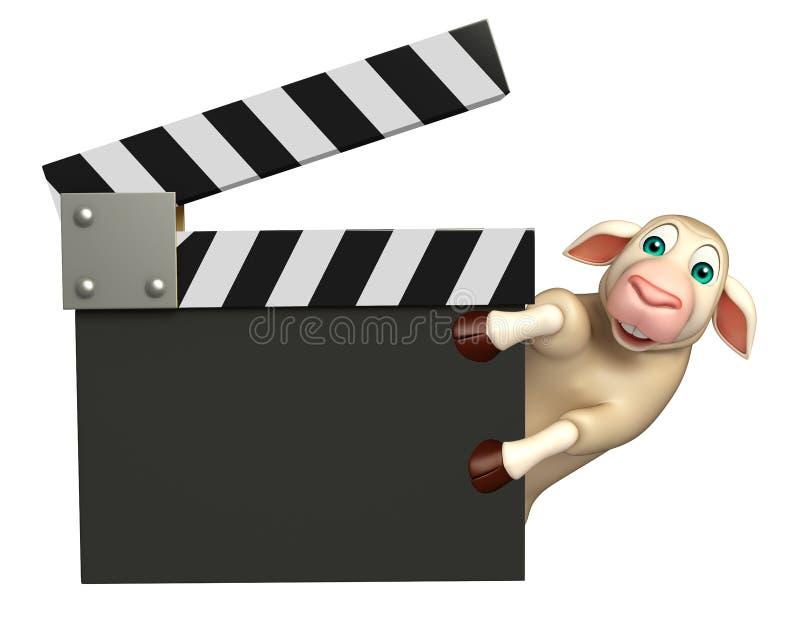 Personnage de dessin animé de moutons avec le bardeau illustration de vecteur