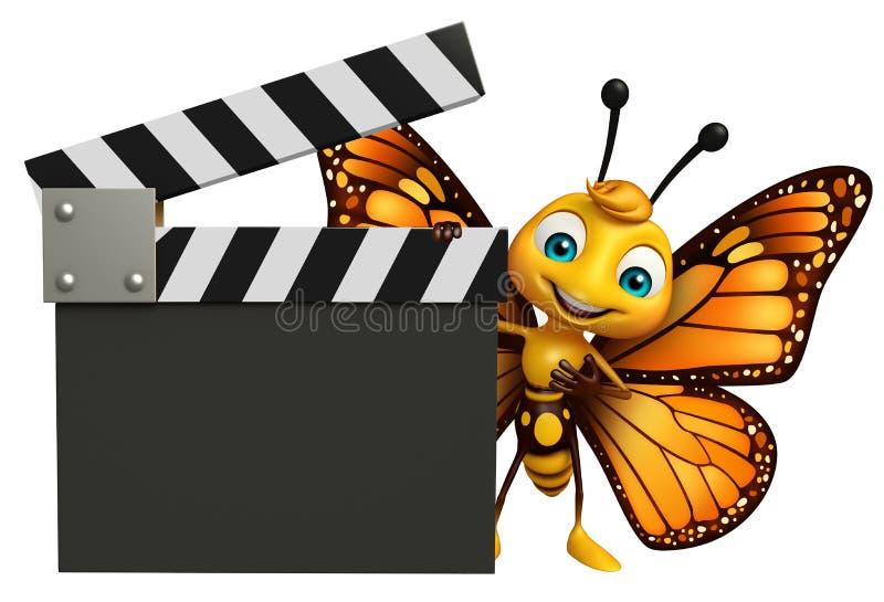 personnage de dessin animé de papillon d'amusement avec le bardeau illustration de vecteur