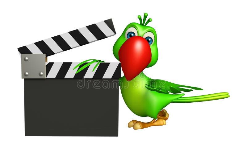 Personnage de dessin animé de perroquet avec le bardeau illustration de vecteur