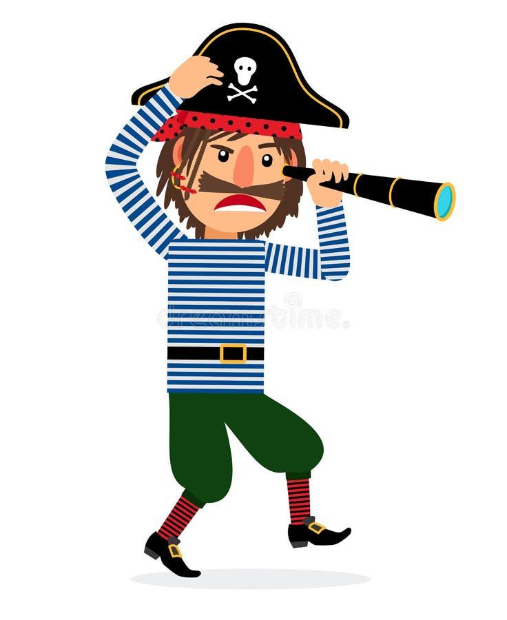 Personnage de dessin animé de pirate avec le regard illustration libre de droits
