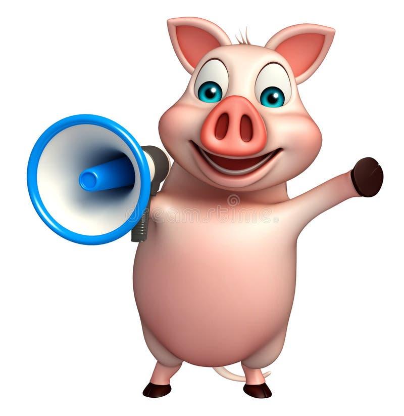 personnage de dessin animé de porc d'amusement avec le haut-parleur bruyant illustration libre de droits