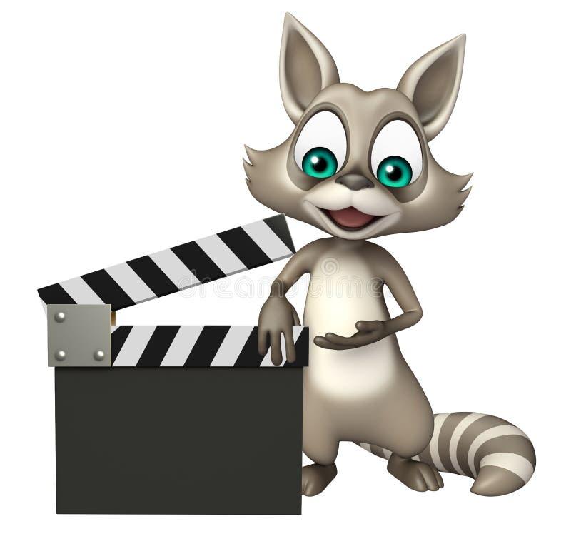 Personnage de dessin animé de raton laveur d'amusement avec le bardeau illustration de vecteur