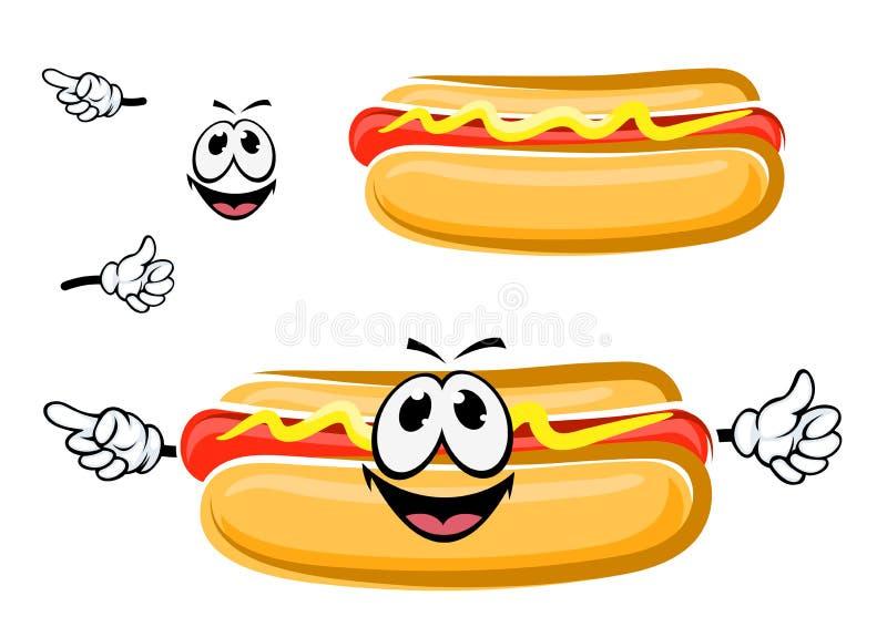 Personnage de dessin animé de sandwich à hot-dog illustration de vecteur