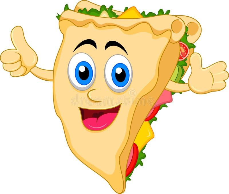 Personnage de dessin animé de sandwich illustration stock