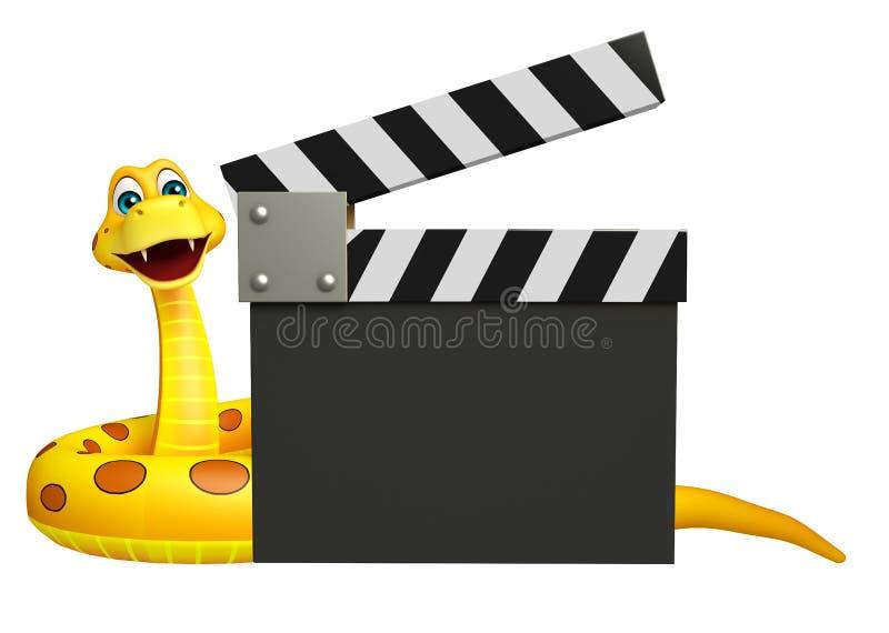 Personnage de dessin animé de serpent d'amusement avec le bardeau illustration de vecteur