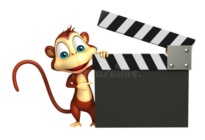 Personnage de dessin animé de singe avec le bardeau illustration libre de droits