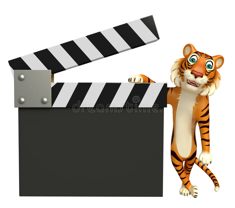 Personnage de dessin animé de tigre d'amusement avec le bardeau illustration libre de droits