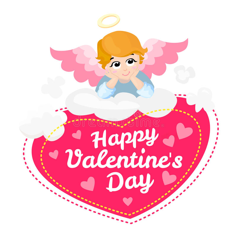 Personnage de dessin animé de vecteur d'ange de bébé Jour de valentines heureux ailes sur un nuage Carte de voeux Mensonge de cup illustration stock