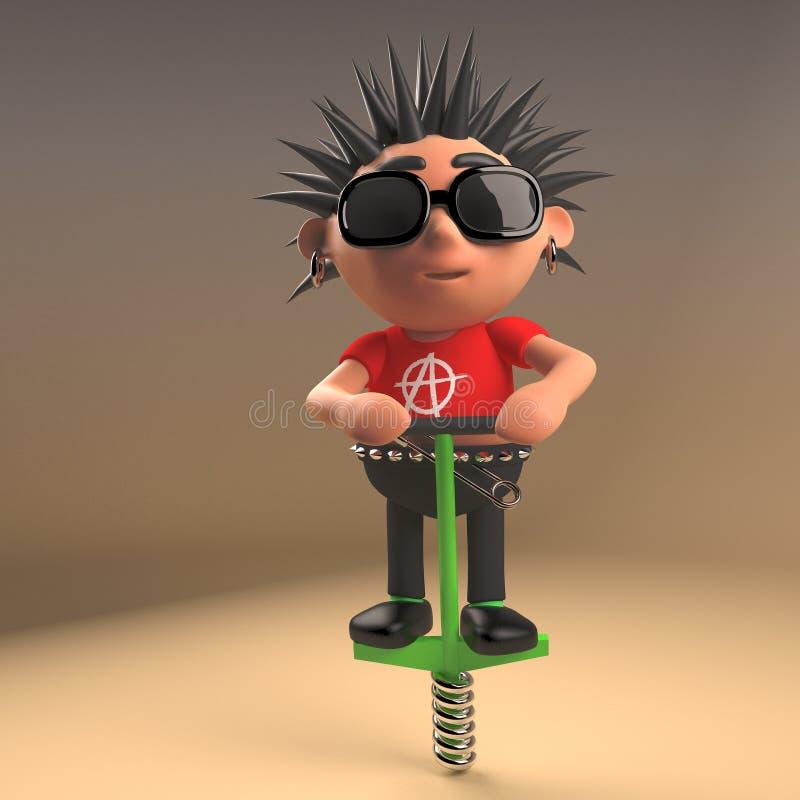 Personnage de dessin animé drôle de punk rock faisant le pogo sur son bâton de pogo, illustration 3d illustration de vecteur