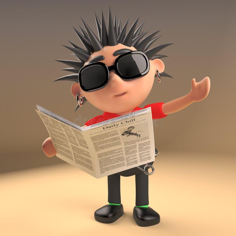 Personnage de dessin animé drôle de rocker punk lisant un journal, illustration 3d illustration stock