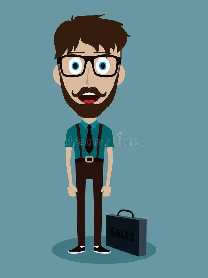 personnage de dessin animé drôle de type de vendeur de bureau d'homme d'affaires illustration libre de droits