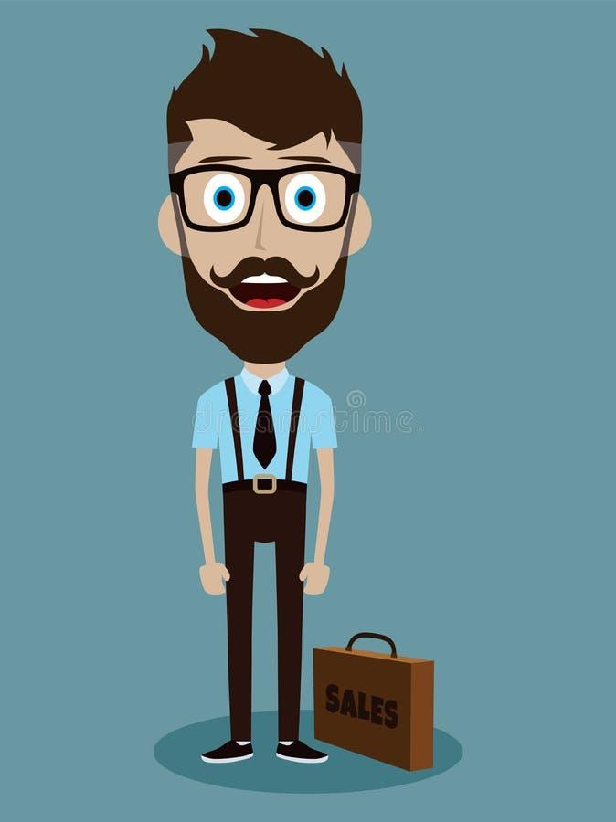 personnage de dessin animé drôle de type de vendeur de bureau d'homme d'affaires illustration stock