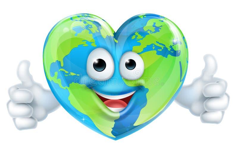Personnage de dessin animé du monde de coeur de jour de terre illustration stock