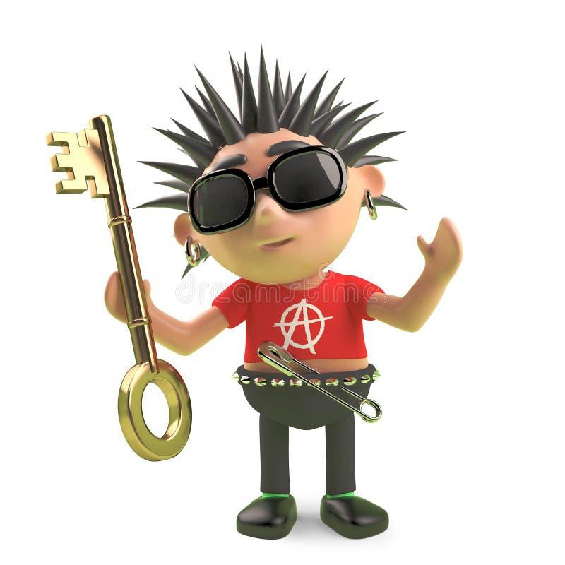 Personnage de dessin animé en épi de punk rock tenant une clé d'or, illustration 3d illustration stock