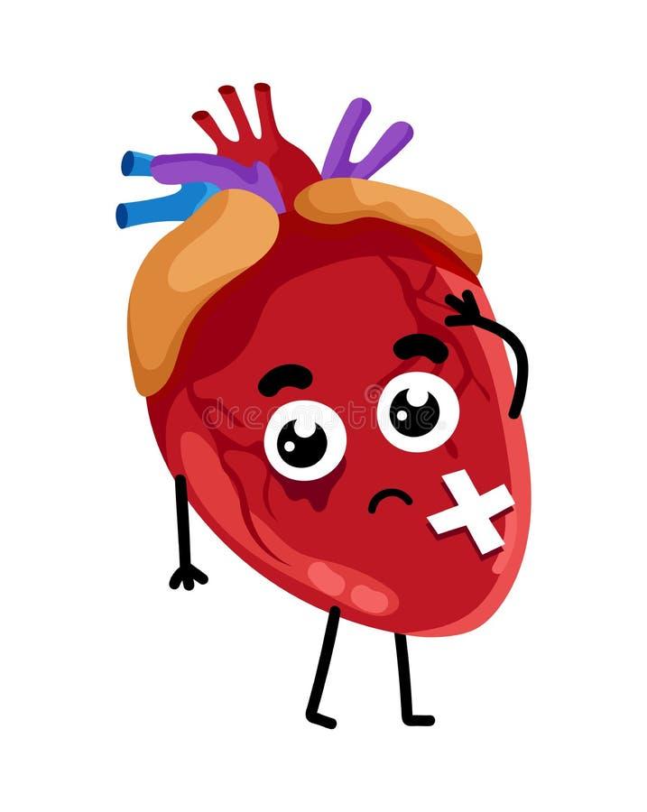 Personnage de dessin animé en difficulté humain de coeur illustration de vecteur