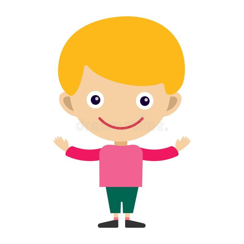 Personnage de dessin animé et happyness mignons d'adolescent de jeune expression heureuse d'amusement de portrait de garçon peu d illustration de vecteur