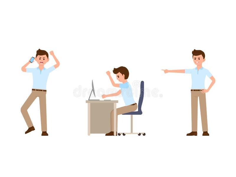 Personnage de dessin animé fâché d'homme de bureau Illustration de vecteur de directeur de cri illustration stock