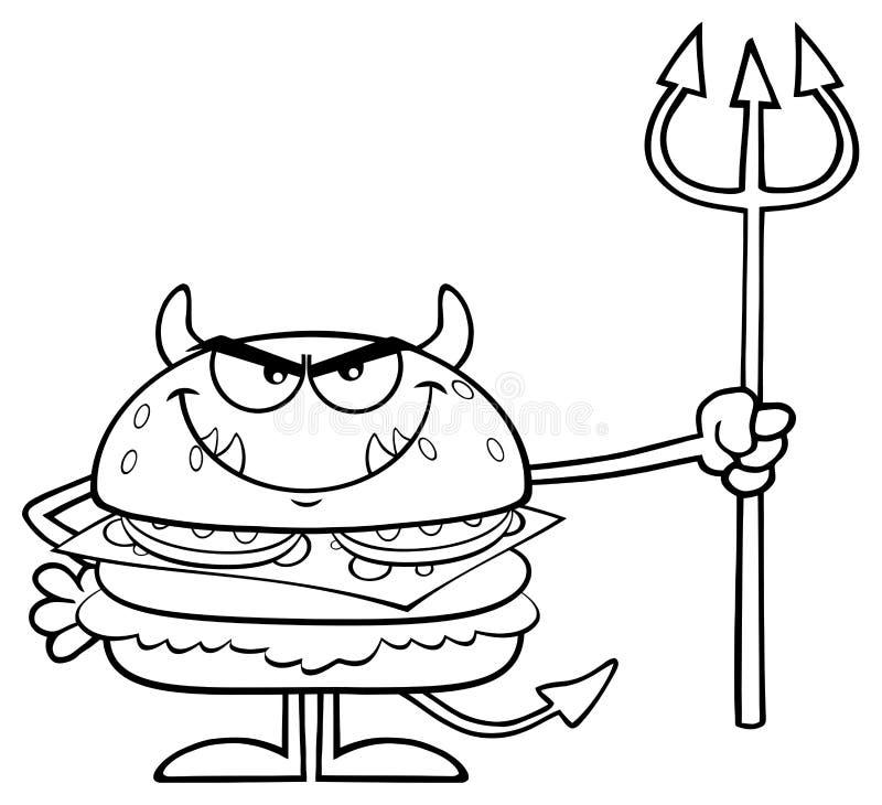 Dessin Anim Noir Et Blanc: Personnage De Dessin Animé Fâché Noir Et Blanc D'hamburger