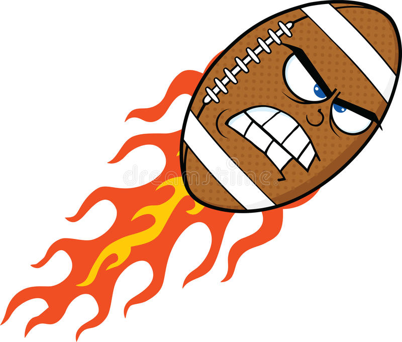 Personnage de dessin animé flamboyant fâché de boule de football américain illustration stock