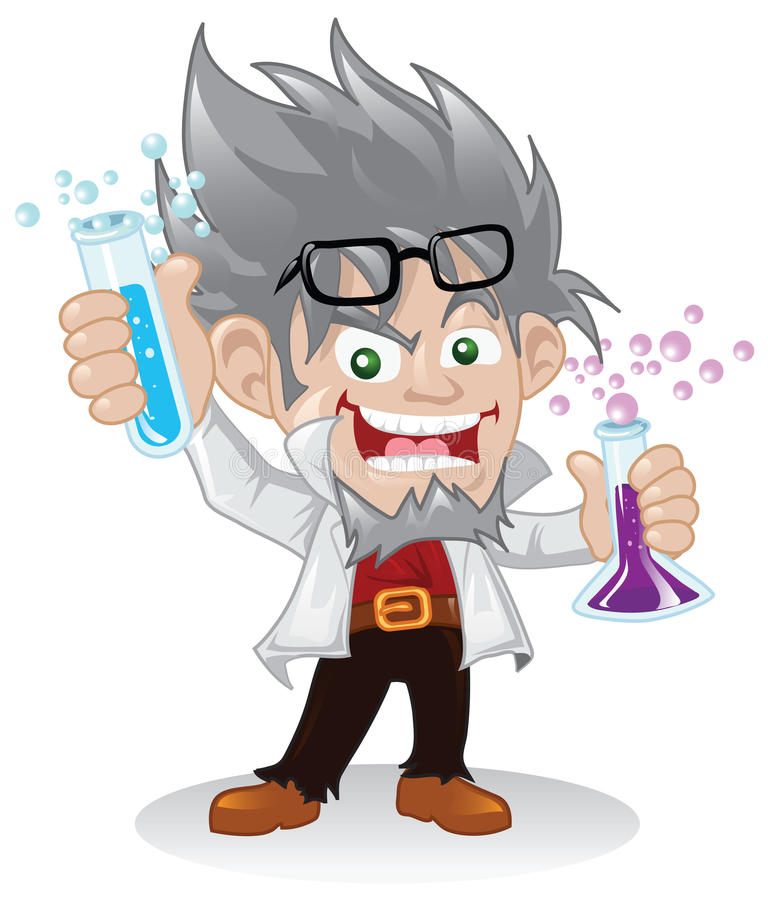 Personnage de dessin animé fou de scientifique illustration stock