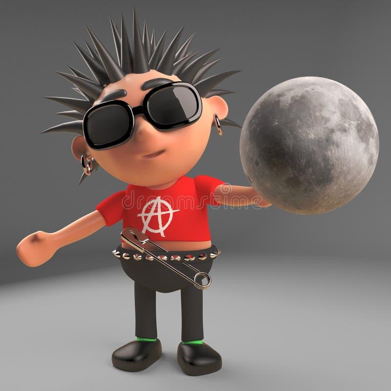 Personnage de dessin animé fou de punk rock tenant la lune dans sa main, illustration 3d illustration de vecteur