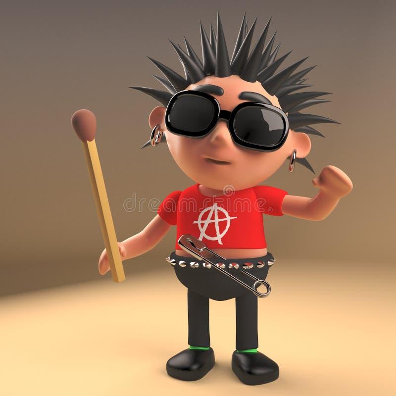 Personnage de dessin animé fou de rocker punk tenant un match non allumé, illustration 3d illustration libre de droits
