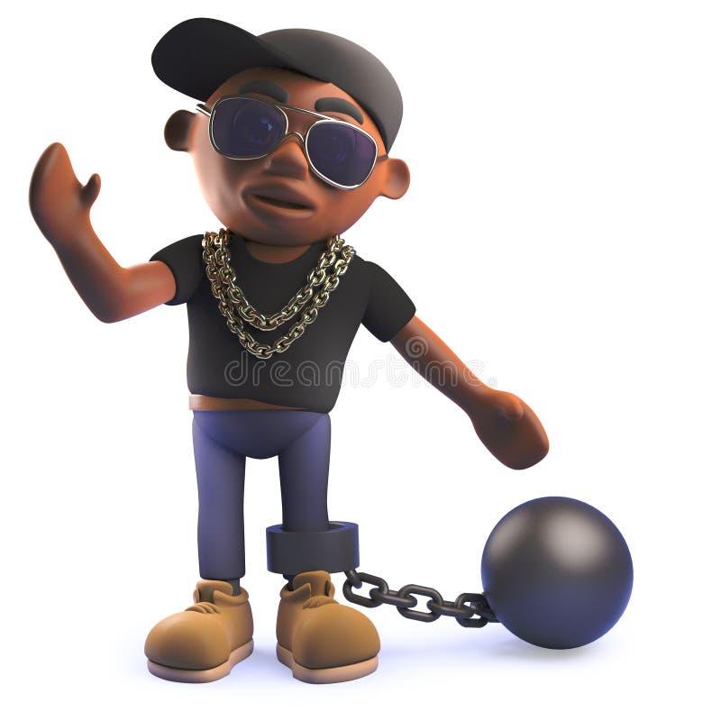 personnage de dessin animé de frappeur d'houblon de hanche du noir 3d avec une boule et une chaîne illustration de vecteur