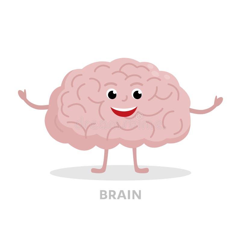 Personnage de dessin animé futé de cerveau d'isolement sur le fond blanc Conception plate de vecteur d'icône de cerveau Concept f illustration stock