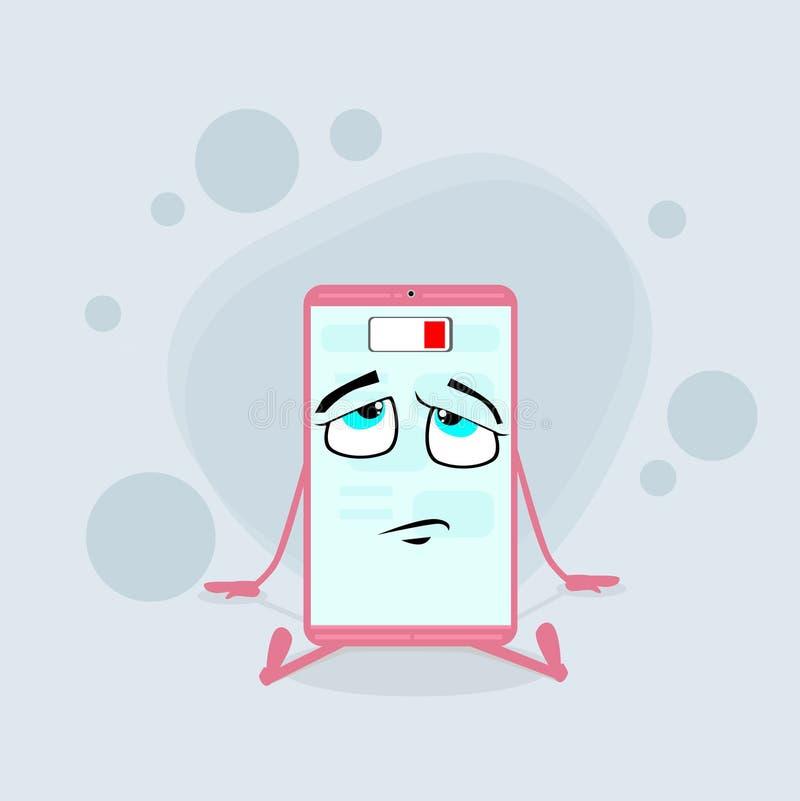 Personnage de dessin animé futé de rose de téléphone portable bas illustration libre de droits