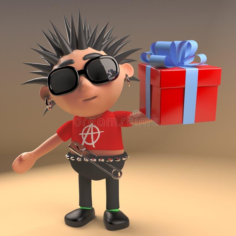 Personnage de dessin animé généreux de punk rock avec un présent enveloppé par cadeau, illustration 3d illustration stock