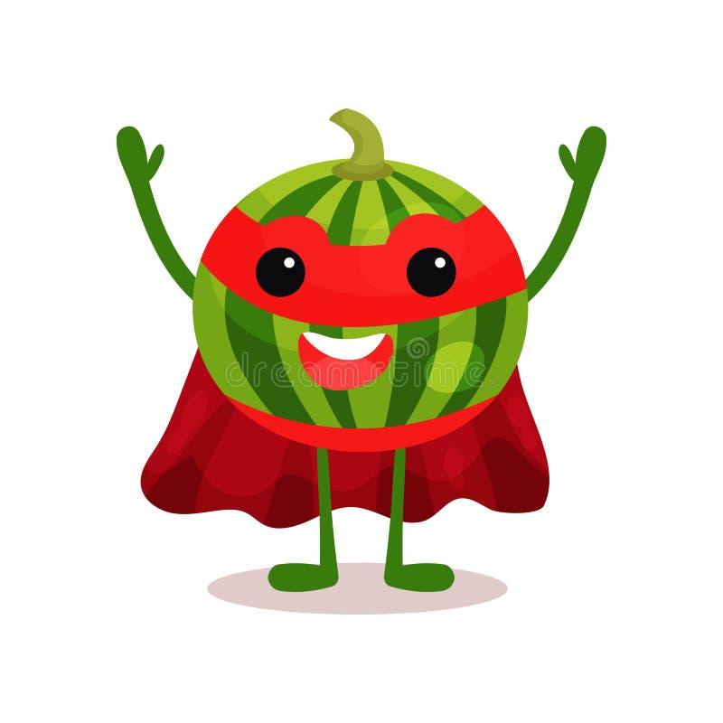 Personnage de dessin animé gai du fruit de super héros de pastèque se tenant avec des mains  illustration de vecteur