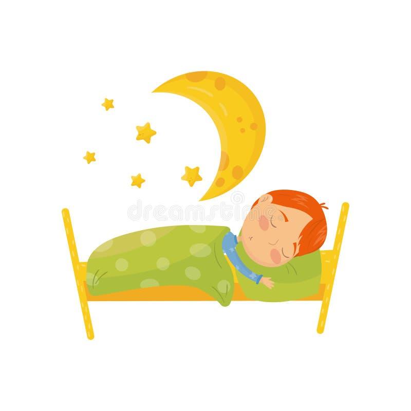 Personnage de dessin animé de garçon roux dormant dans le lit sous la couverture chaude Grande lune jaune et peu d'étoiles bedtim illustration libre de droits