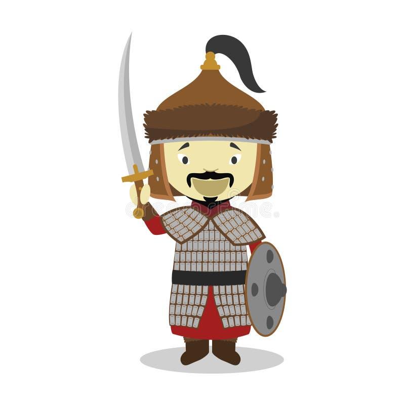 Personnage de dessin animé de Genghis Khan Illustration de vecteur illustration de vecteur