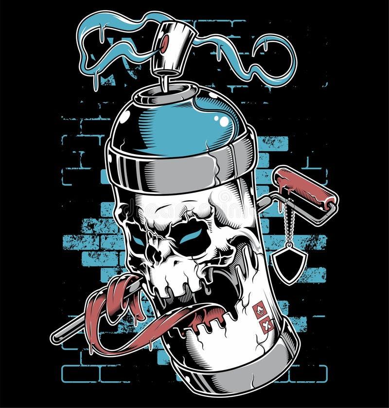Personnage de dessin animé de graffiti de visage de crâne de peinture de jet illustration libre de droits