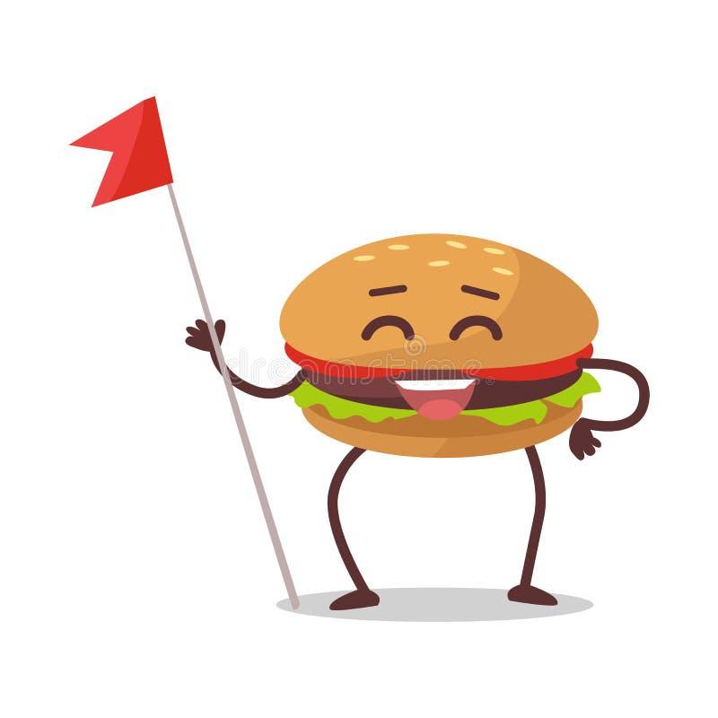 Personnage de dessin animé heureux d'hamburger illustration de vecteur