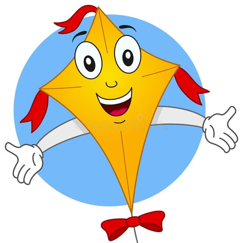 Personnage de dessin animé heureux de cerf-volant de vol illustration stock