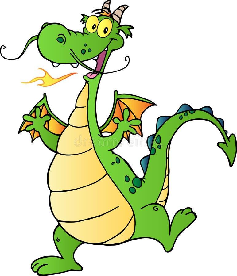 Personnage de dessin animé heureux de dragon illustration stock