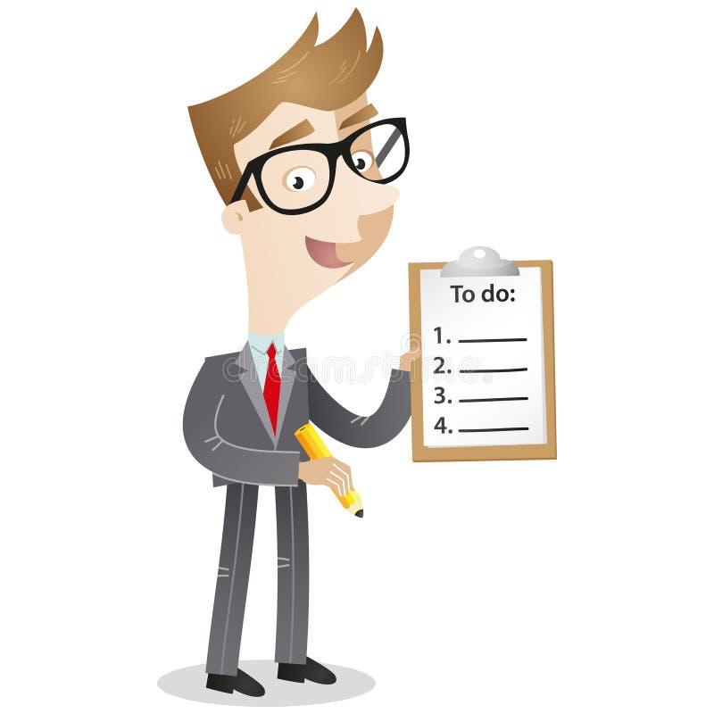 Personnage de dessin animé : Homme d'affaires avec la liste de remue-ménage illustration libre de droits