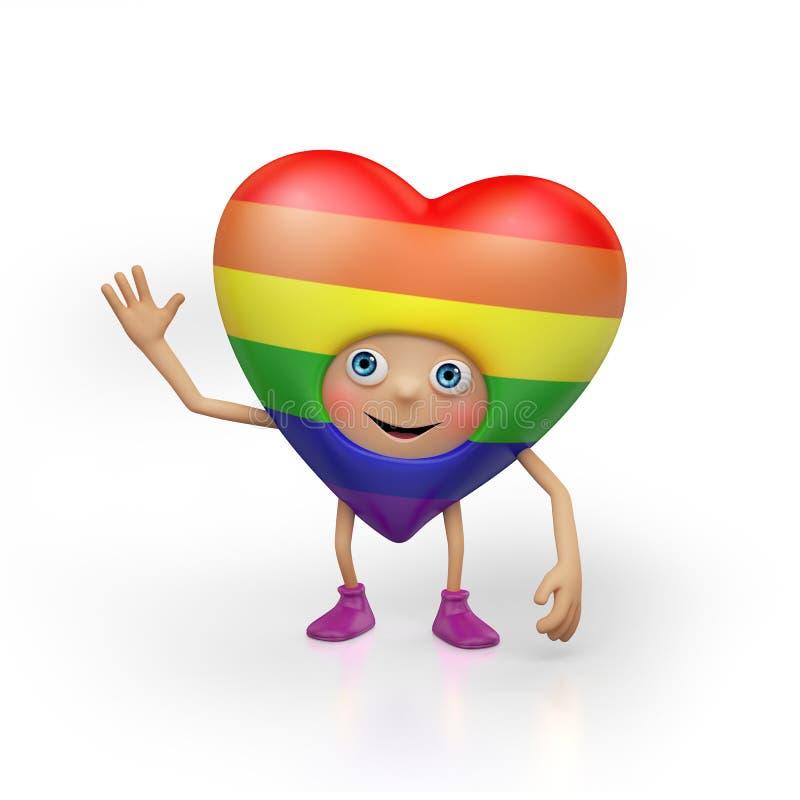 Personnage de dessin animé homosexuel drôle de coeur de Valentine illustration de vecteur