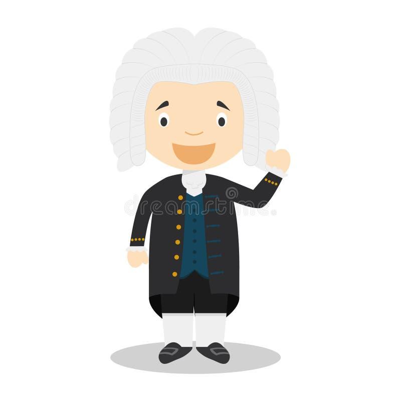Personnage de dessin animé de Johan Sebastian Bach Illustration de vecteur illustration de vecteur
