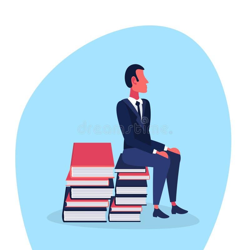 Personnage de dessin animé masculin se reposant de processus d'éducation d'étudiant de concept de séance de réflexion de pile de  illustration stock