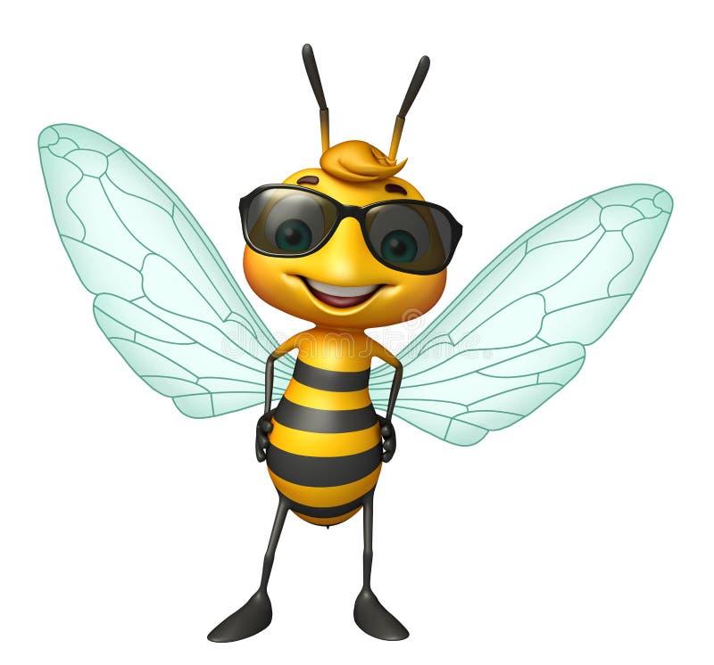 personnage de dessin animé mignon d'abeille avec des sunglass illustration de vecteur