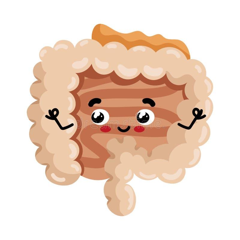 Personnage de dessin animé mignon d'intestin humain illustration stock