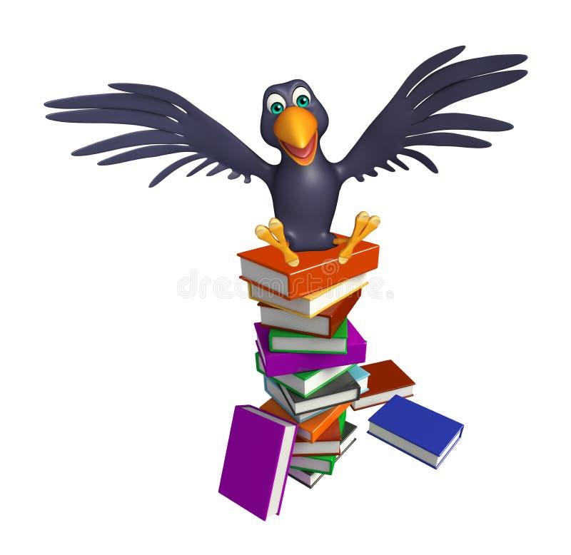 personnage de dessin animé mignon de corneille avec des livres illustration stock